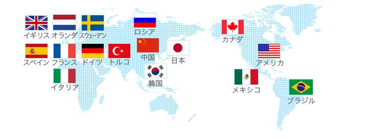 日本 / 中国 / トルコ / ロシア / イギリス / ドイツ / フランス / スペイン / イタリア / アメリカ / カナダ
